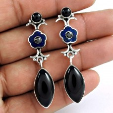 925 Sterling Silver Fashion Jewellery Fashion Black Onyx, Inlay Gemstone Earrings