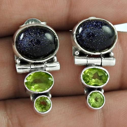 925 Sterling Silver Jewellery High Polish Blue Sunstone, Peridot Gemstone Earrings