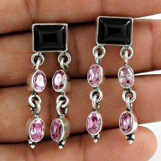 925 Sterling Silver Jewellery Fashion Black Onyx, Pink CZ Gemstone Earrings