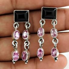 925 Sterling Silver Jewellery Fashion Black Onyx, Pink CZ Gemstone Earrings