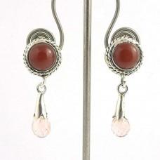 925 Sterling Silver Vintage Jewellery Ethnic Carnelian, Rose Quartz Gemstone Earrings