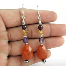 Pale Beauty! 925 Sterling Silver Carnelian, Amethyst, Citrine, garnet Earrings Mayorista