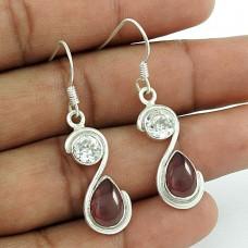 925 Silver Jewellery Beautiful Crystal & Garnet Gemstone Earrings