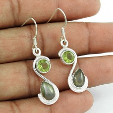 925 Sterling Silver Jewellery Rare Labradorite, Peridot Gemstone Earrings