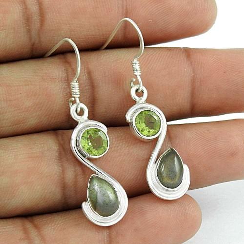 925 Sterling Silver Jewellery Rare Labradorite, Peridot Gemstone Earrings