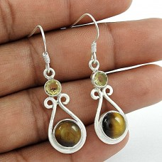925 Sterling Silver Vintage Jewellery Fashion Tiger Eye, Citrine Gemstone Earrings