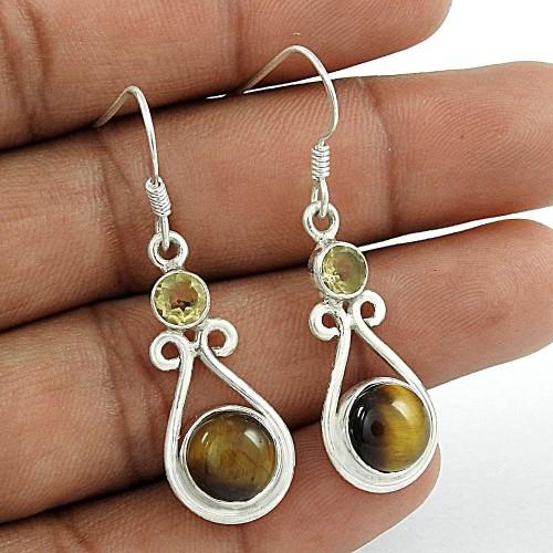 925 Sterling Silver Vintage Jewellery Fashion Tiger Eye, Citrine Gemstone Earrings