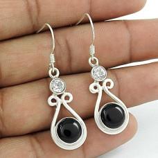 Draditions !! Black Onyx, White CZ Gemstone Sterling Silver Earrings Jewellery Grossiste