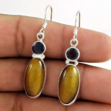 Sterling Silver Fashion Jewellery Rare Tiger Eye, Iolite Gemstone Earrings