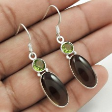 Large Stunning !! Smoky Quartz, Peridot Gemstone Sterling Silver Earrings Jewellery Großhandel