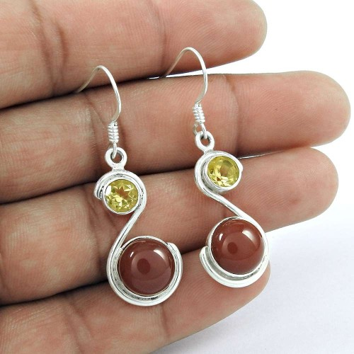 Charming !! Red Onyx, Citrine Gemstone Sterling Silver Earrings Jewellery Wholesale