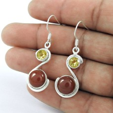 Sterling Silver Jewellery Fashion Red Onyx, Citrine Gemstone Earrings