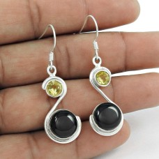 925 Silver Jewellery Beautiful Black Onyx, Lemon Topaz Gemstone Earrings