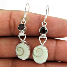 925 Sterling Silver Jewellery High Polish Shiva Eye, Garnet Gemstone Earrings