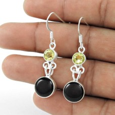 925 Sterling Silver Fashion Jewellery Charming Black Onyx, Lemon Topaz Gemstone Earrings