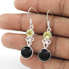 925 Sterling Silver Fashion Jewellery Charming Black Onyx, Lemon Topaz Gemstone Earrings