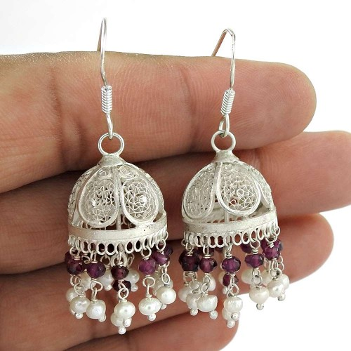 The One ! Ruby, Pearl 925 Sterling Silver Jhumka Manufacturer India