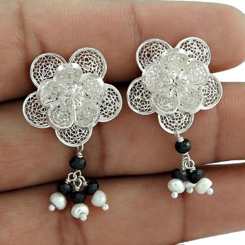 Love Circle Pearl, Black Onyx Gemstone 925 Sterling Silver Earrings Wholesale Price