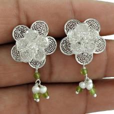 Easeful Pearl, Prehnite Gemstone 925 Sterling Silver Earrings Wholesaling