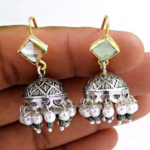 925 Sterling Silver Jewellery Beautiful Crystal, Pearl, Black Onyx Gemstone Fashion Jhumki