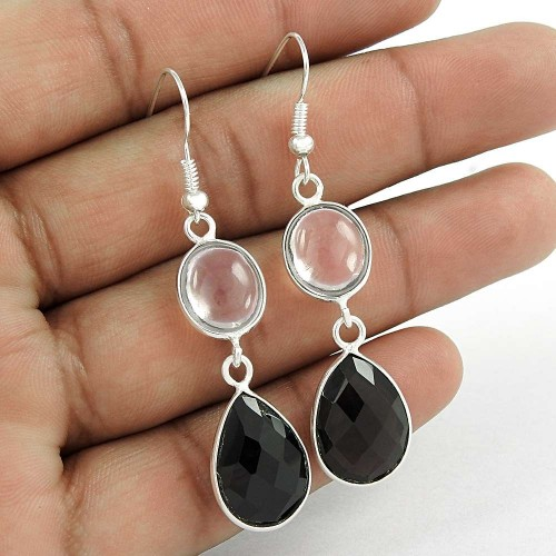 Good-Looking 925 Sterling Silver Black Onyx, Crystal Gemstone Earring Antique Jewelry