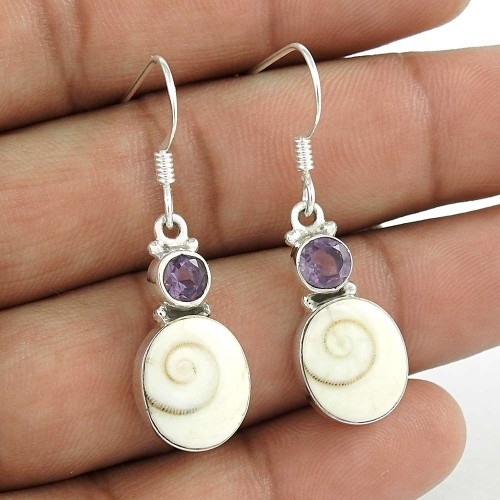 Possessing Good Fortune 925 Sterling Silver Shiva Eye Amethyst Gemstone Earring Traditional Jewelry