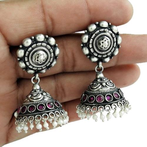 Indian Look 925 Sterling Silver Pearl Ruby Gemstone Earring Vintage Jewelry