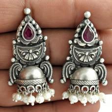 Jhumki Pearl Garnet Gemstone Oxidized Sterling Silver Earring Jewelry