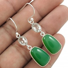 Party Wear 925 Sterling Silver Chrysoprase, crystal Gemstone Earring Ethnic Jewelry B41