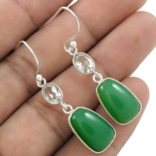Beautiful 925 Sterling Silver Chrysoprase, crystal Gemstone Earring Handmade Jewelry B43