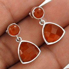 HANDMADE 925 Solid Sterling Silver Jewelry Natural CARNELIAN Earring BG1
