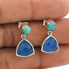 HANDMADE 925 Solid Sterling Silver Natural CHALCEDONY TURQUOISE Earring BE37