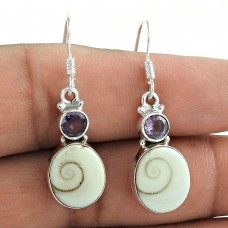 925 Sterling Silver Antique Jewellery Beautiful Shiva Eye, Amethyst Gemstone Earrings