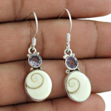 Sterling Silver Fashion Jewellery High Polish Shiva Eye, Amethyst Gemstone Earrings