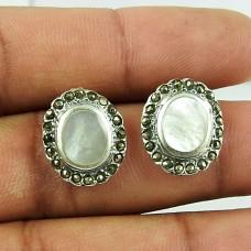 Dainty MOP, Marcasite Sterling Silver Earrings 925 Sterling Silver Vintage Jewellery