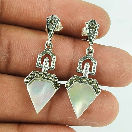 Personable MOP, Marcasite Sterling Silver Earrings 925 Silver Jewellery