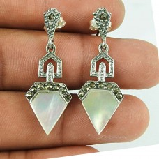 Classic MOP, Marcasite Sterling Silver Earrings 925 Sterling Silver Jewellery