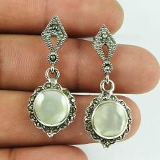 Beautiful MOP, Marcasite Sterling Silver Stud Earrings 925 Silver Jewellery