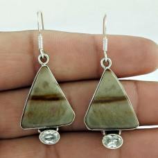 Indian Sterling Silver Jewellery Fashion Picture Jasper, Crystal Gemstone Earrings