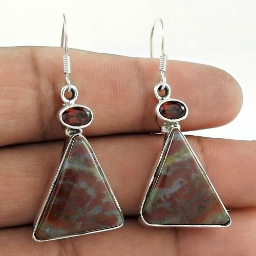 925 Sterling Silver Jewellery Ethnic Jasper, Garnet Gemstone Earrings