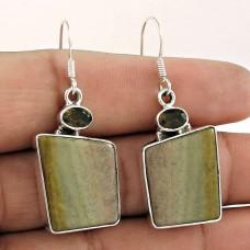925 Sterling Silver Jewellery Fashion Jasper, Smoky Quartz Gemstone Earrings