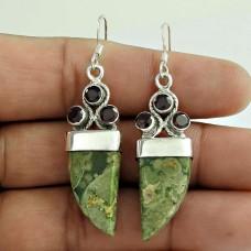 Big Delicate !! 925 Sterling Silver Rainbow Forest, Garnet Earrings Wholesaler