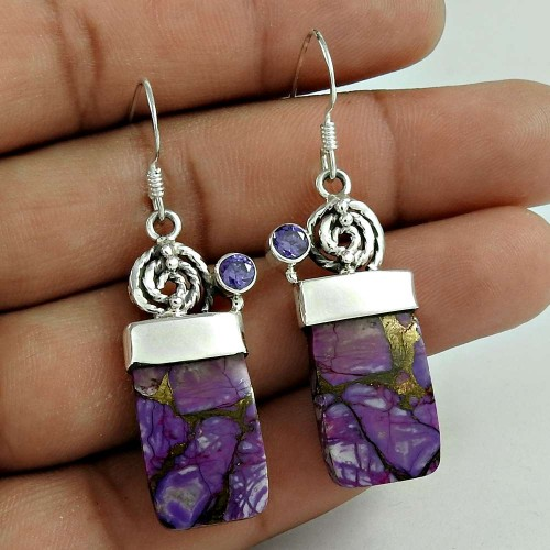 Sterling Silver Fashion Jewellery Fashion Purple Copper Turquoise, Amethyst Gemstone Earrings