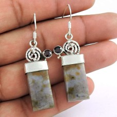 Indian Sterling Silver Jewellery Beautiful Ocean jasper, Garnet Gemstone Earrings