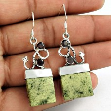 Modern Style !! 925 Sterling Silver Canadian Jade, Garnet Earrings Proveedor