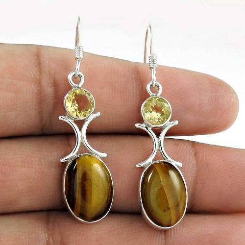 925 Sterling Silver Indian Jewellery Beautiful Tiger Eye, Citrine Gemstone Earrings