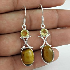 Sterling Silver Fashion Jewellery Rare Tiger Eye, Citrine Gemstone Earrings