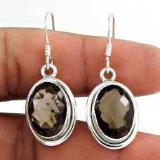Big Natural ! 925 Sterling Silver Smoky Quartz Earrings Wholesaling