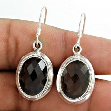 Tropical Glow!! 925 Sterling Silver Smoky Quartz Earrings Grossiste