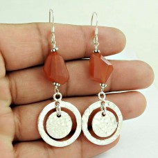 New Faceted!! 925 Sterling Silver Carnelian Earrings Supplier